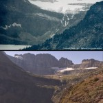 Picture of grinnell glacier 1911-2009, Click to enlarge or click here for link to other melting glaciers.