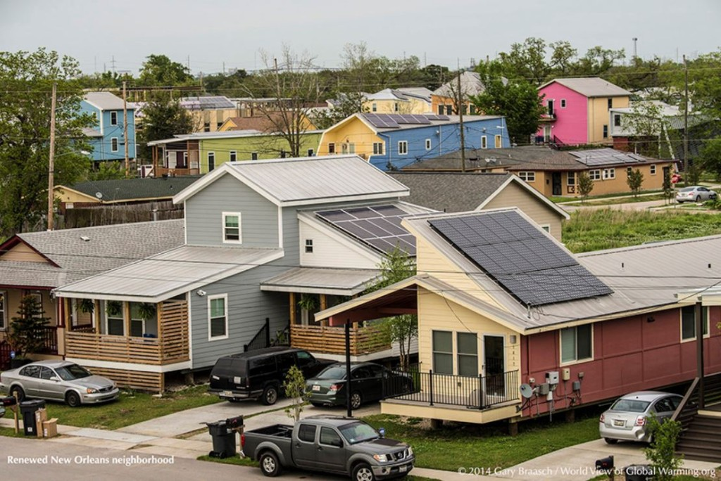 Solar Photovoltaic Panels in Renewed New Orleans Neighborhood. Photo used by permission of Gary Braasch.