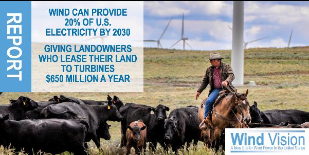 Wind can provide 20% of US electricity by 2030 providing farmers and ranchers $650 a year in land leases