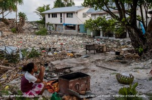 Trash brought in on Tuvalu tide